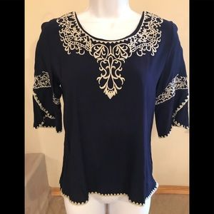 Navy blue embroidered blouse